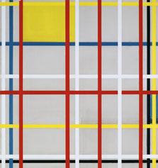 Piet Mondrian New York City, 3 (inacabado) 1941 Óleo, lápiz, carboncillo y cinta adhesiva de papel en colores.
