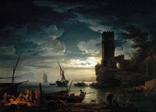 Claude-Joseph Vernet Noche: escena de la costa mediterránea con pescadores y barcas 1753 Óleo sobre lienzo. 96,5 x 134,6 cm